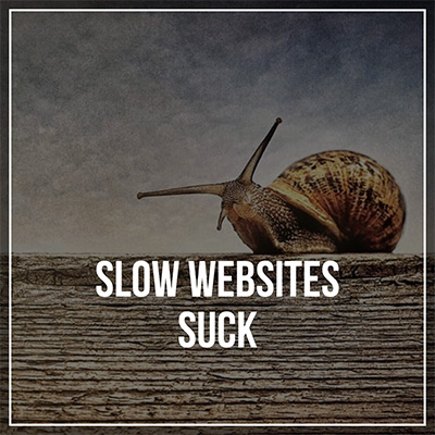 "snail above the words ""slow websites suck"""